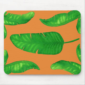 Tropical Banana Palm Leaves Mousepad Orange