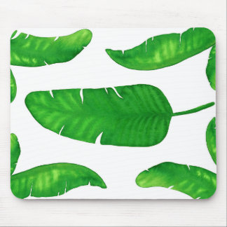 Tropical Banana Palm Leaves Mousepad Watercolor