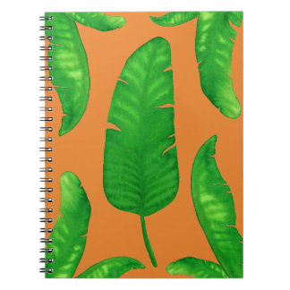 Tropical Banana Palm Leaves Notebook 80 Orange
