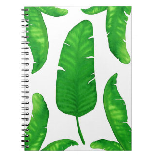 Tropical Banana Palm Leaves Notebook 80 Pages B&W