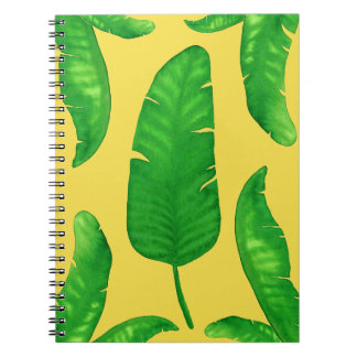 Tropical Banana Palm Leaves Notebook 80 Yellow