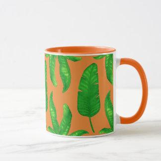 Tropical Banana Palm Leaves Orange Mug