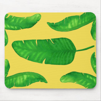 Tropical Banana Palm Leaves Yellow Mousepad