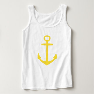 Tropical Banana Yellow Anchor on White Singlet