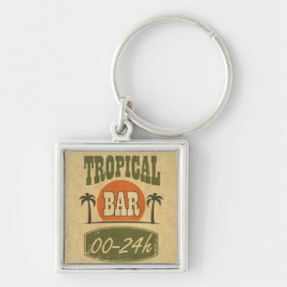 Tropical Bar Silver-Colored Square Key Ring