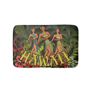 Tropical Bath Mat Hawaii Art Print Hula Palm Bath Mats