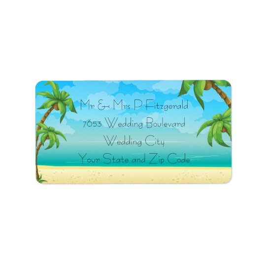 Tropical Beach and Palm Trees Wedding Address Label