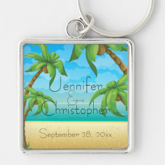 Tropical Beach and Palm Trees Wedding Memento Silver-Colored Square Key Ring