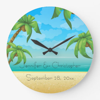Tropical Beach and Palm Trees Wedding Memento Wallclock