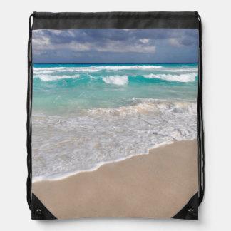 Tropical Beach and Sandy Beach Drawstring Bag