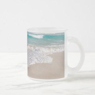 Tropical Beach and Sandy Beach Frosted Glass Coffee Mug