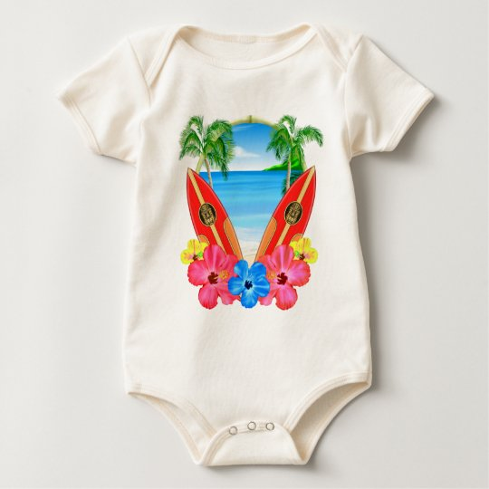 Tropical Beach And Surfboards Baby Bodysuit