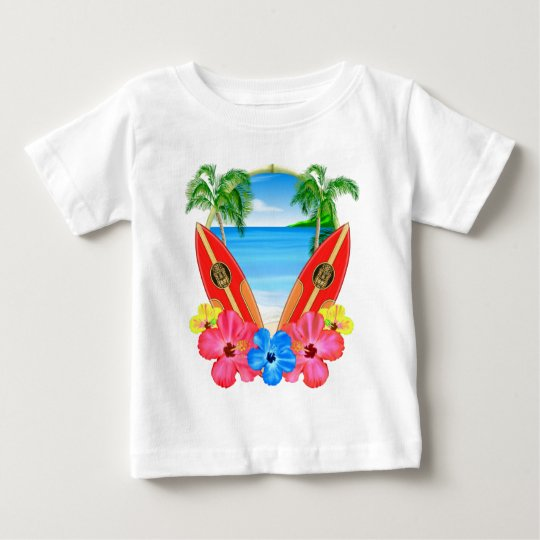 Tropical Beach And Surfboards Baby T-Shirt