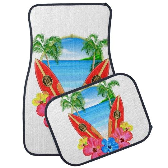 Tropical Beach And Surfboards Car Mat