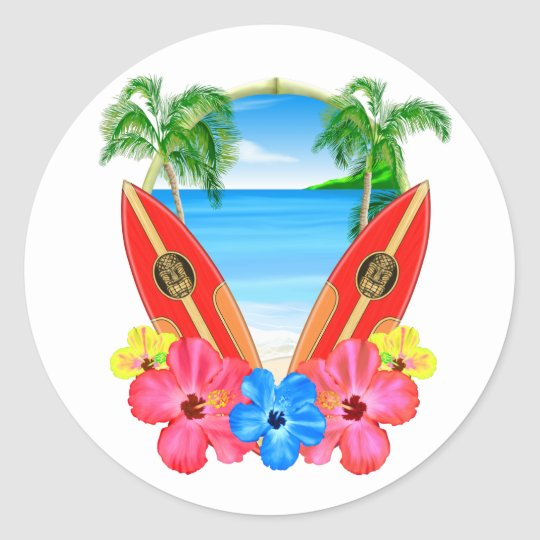 Tropical Beach And Surfboards Classic Round Sticker