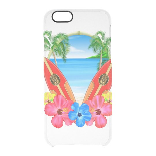 Tropical Beach And Surfboards Clear iPhone 6/6S Case
