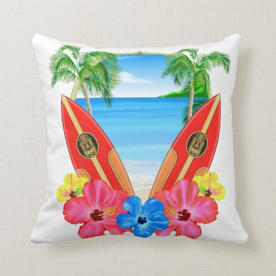 Tropical Beach And Surfboards Cushion