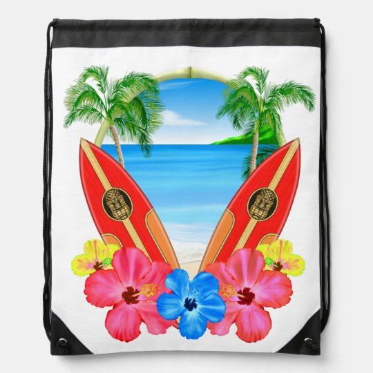 Tropical Beach And Surfboards Drawstring Bag