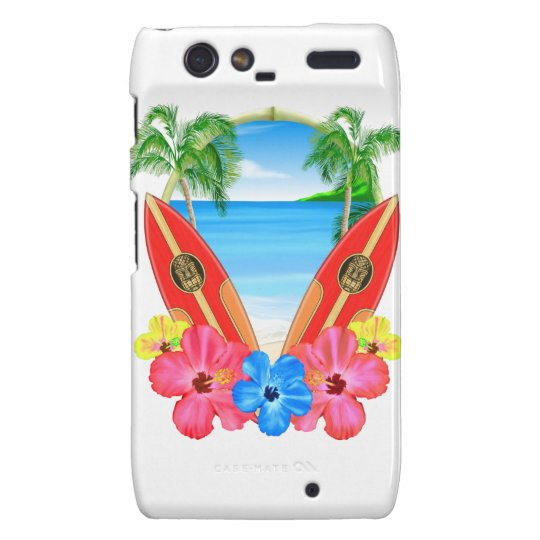 Tropical Beach And Surfboards Droid RAZR Cases