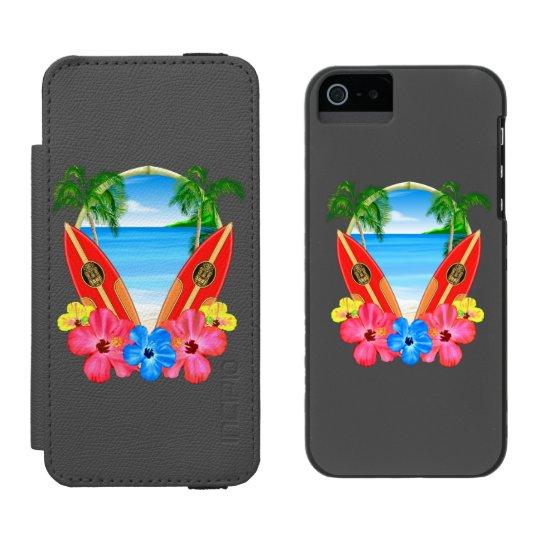 Tropical Beach And Surfboards Incipio Watson™ iPhone 5 Wallet Case