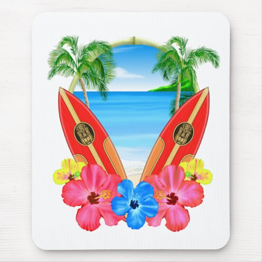 Tropical Beach And Surfboards Mouse Pad