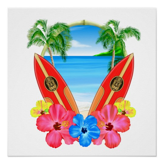 Tropical Beach And Surfboards Poster