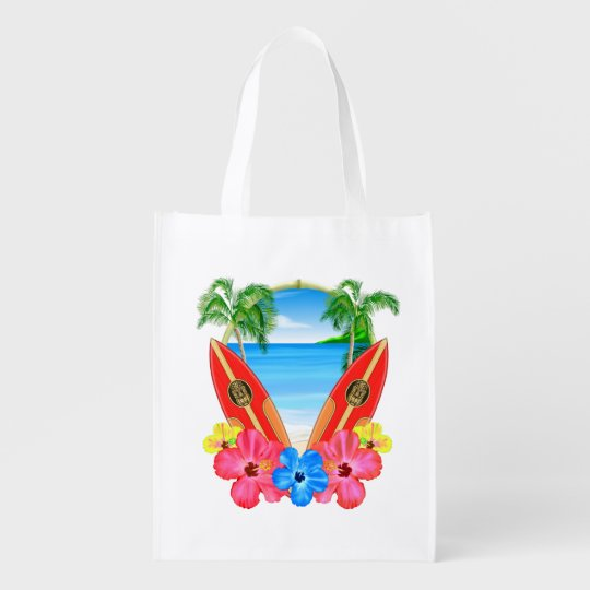 Tropical Beach And Surfboards Reusable Grocery Bag