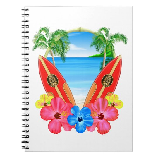 Tropical Beach And Surfboards Spiral Notebook