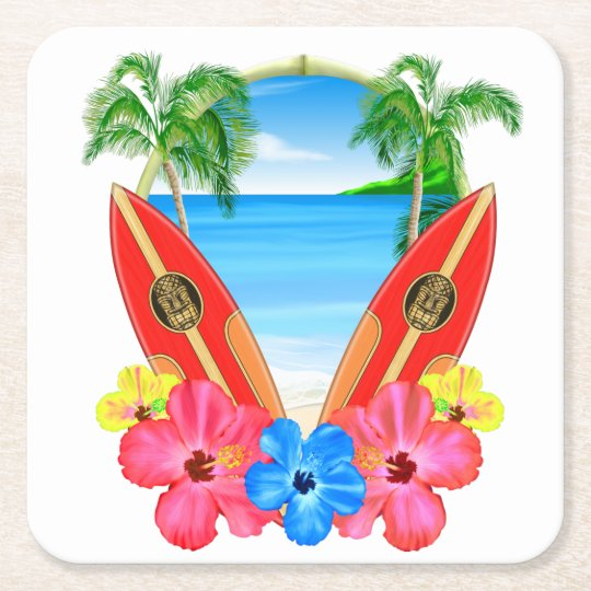 Tropical Beach And Surfboards Square Paper Coaster