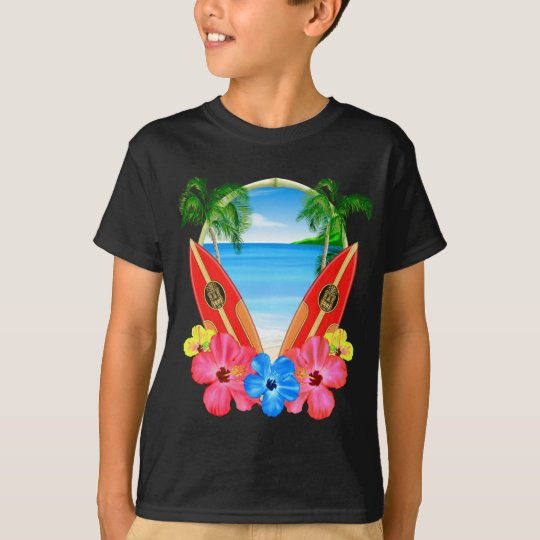 Tropical Beach And Surfboards T-Shirt