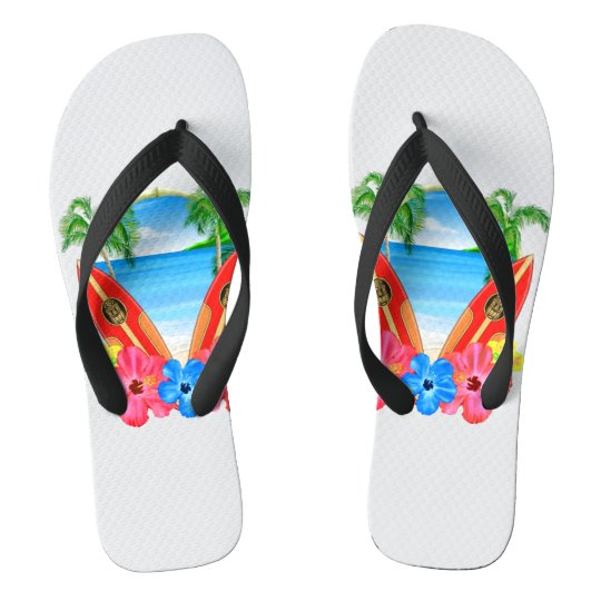 Tropical Beach And Surfboards Thongs