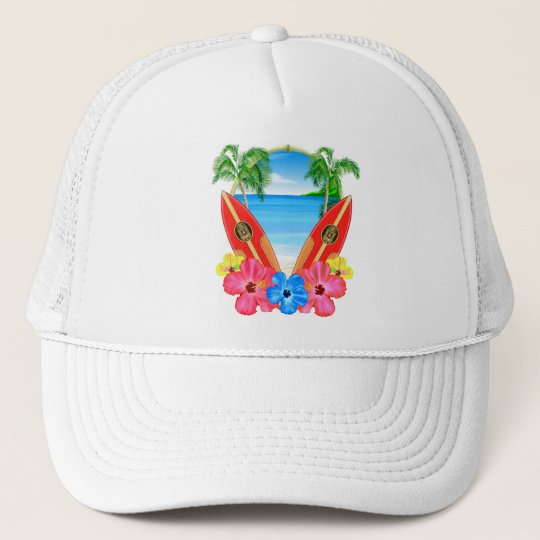 Tropical Beach And Surfboards Trucker Hat