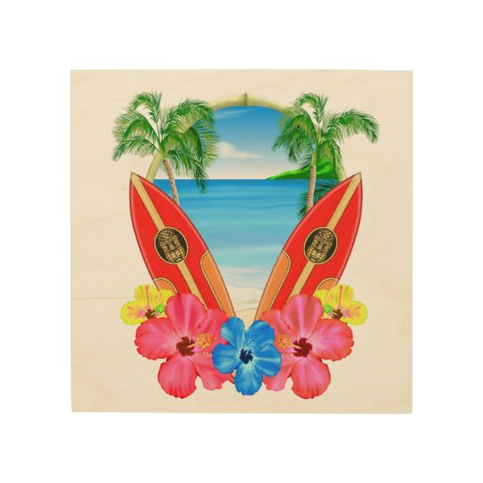 Tropical Beach And Surfboards Wood Wall Decor