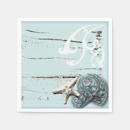 tropical beach aqua blue starfish wedding disposable serviette