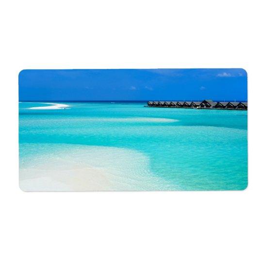 Tropical beach at Maldives Shipping Label