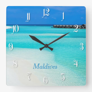 Tropical beach at Maldives Square Wall Clock