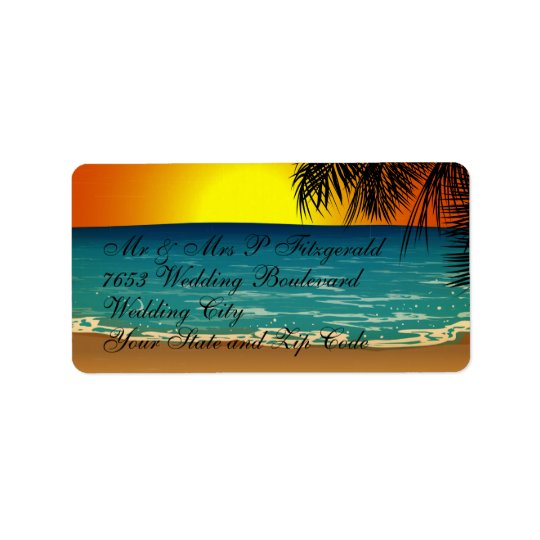 Tropical Beach at Sunset Label