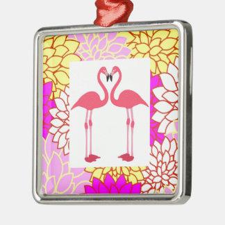 Tropical Beach Birds Destiny Flamingos Silver-Colored Square Decoration