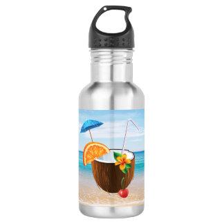 Tropical Beach,Blue Sky,Ocean Sand,Coconut Coctail 532 Ml Water Bottle