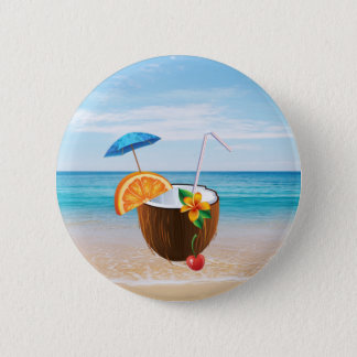 Tropical Beach,Blue Sky,Ocean Sand,Coconut Coctail 6 Cm Round Badge