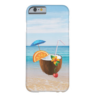 Tropical Beach,Blue Sky,Ocean Sand,Coconut Coctail Barely There iPhone 6 Case