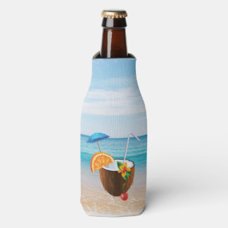 Tropical Beach,Blue Sky,Ocean Sand,Coconut Coctail Bottle Cooler