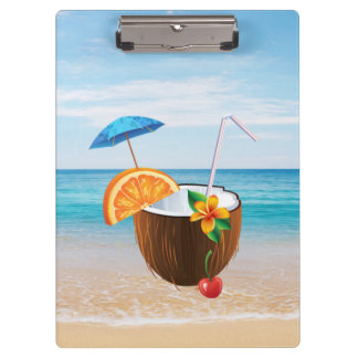 Tropical Beach,Blue Sky,Ocean Sand,Coconut Coctail Clipboard