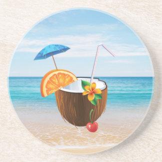 Tropical Beach,Blue Sky,Ocean Sand,Coconut Coctail Coaster