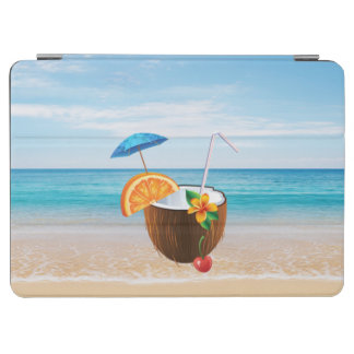 Tropical Beach,Blue Sky,Ocean Sand,Coconut Coctail iPad Air Cover