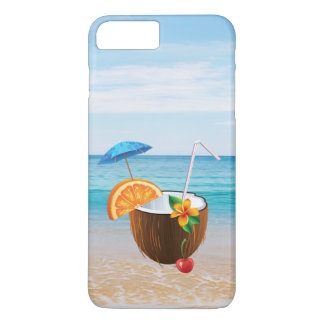 Tropical Beach,Blue Sky,Ocean Sand,Coconut Coctail iPhone 7 Plus Case