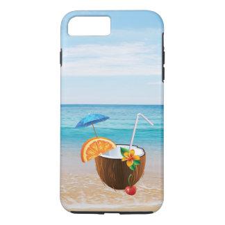 Tropical Beach,Blue Sky,Ocean Sand,Coconut Coctail iPhone 8 Plus/7 Plus Case
