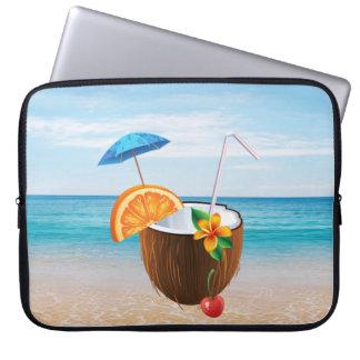 Tropical Beach,Blue Sky,Ocean Sand,Coconut Coctail Laptop Sleeve