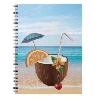 Tropical Beach,Blue Sky,Ocean Sand,Coconut Coctail Notebooks
