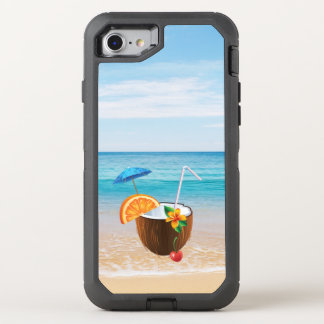 Tropical Beach,Blue Sky,Ocean Sand,Coconut Coctail OtterBox Defender iPhone 7 Case